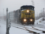 Q326 Leaves the yard as the snow begins to fall again